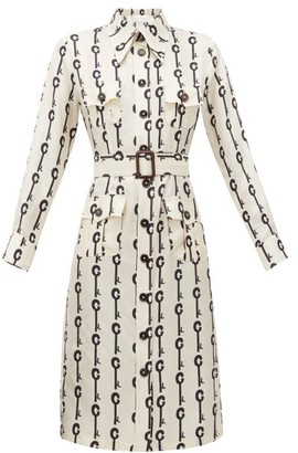La Prestic Ouiston Lou Lou Good Luck-print Silk-twill Dress - White Black