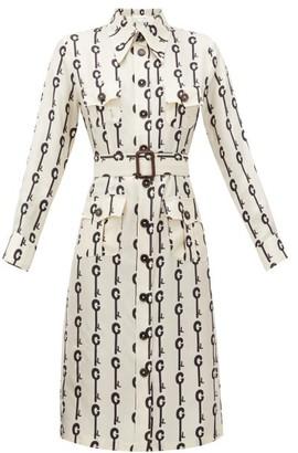 La Prestic Ouiston Lou Lou Good Luck-print Silk-twill Dress - Womens - White Black
