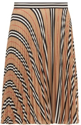 Burberry Rorsby Icon-stripe Pleated Skirt - Beige Multi