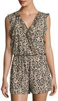 BCBGeneration Ruffled Floral-Print Romper, Multi Pattern