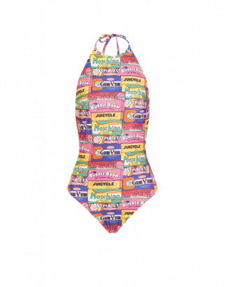 Moschino Chewin Gum Lycra One-piece Swimsuit Woman Multicoloured Size 38 It - (2 Us)