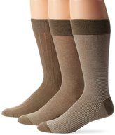 Cole Haan Men's 3 Pack Even Stripe Crew Socks, Khaki, One Size