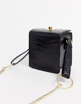 Asos Design DESIGN boxy cross body in croc