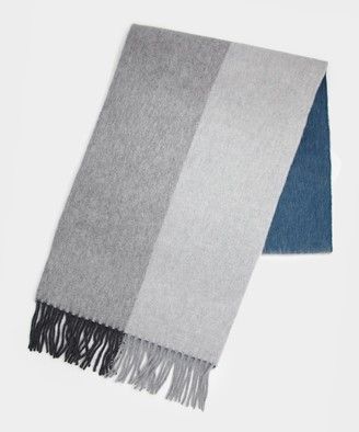 Drakes Block Check Scarf in Grey/Navy