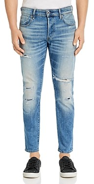G Star 3301 Slim Fit Jeans in Worn In Ripped Blue Faded - 100% Exclusive