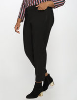 ELOQUII Plus Size Kady Fit Double-Weave Pant with Faux Leather Side Stripe