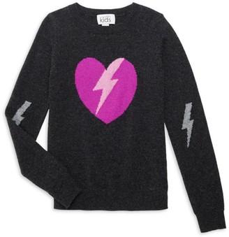 Autumn Cashmere Girl's Lightning Heart Wool & Cashmere Sweater