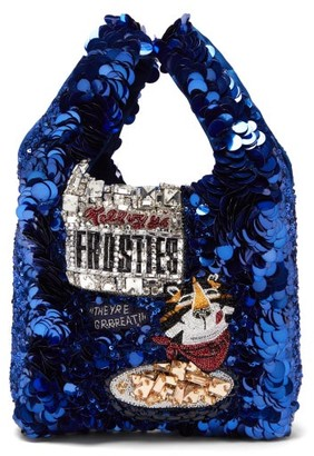 Anya Hindmarch Frosties Sequinned Recycled-satin Tote Bag - Blue Multi