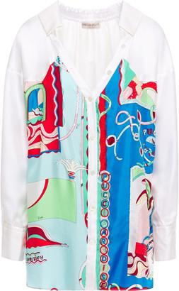 Emilio Pucci Embellished Printed Silk-twill Shirt