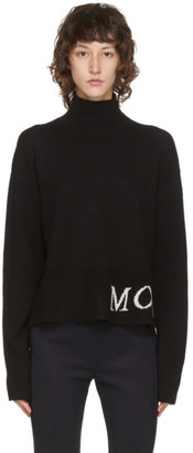 Moncler Black Wool and Cashmere Rib Knit Logo Turtleneck