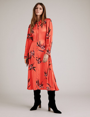 Marks and Spencer Satin Floral Print Midi Shirt Dress