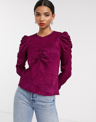 And other stories & jacquard leopard burnout blouse in purple