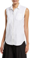 Brunello Cucinelli Sleeveless Poplin Blouse with Monili Trim