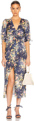 Zimmermann Zinnia Shirred Waist Dress in Cobalt Floral | FWRD