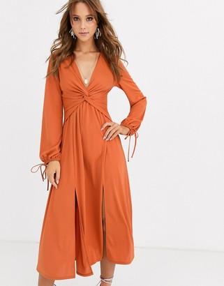Asos Design DESIGN Long sleeve twist front midi dress-Orange