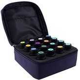16-Bottle Essential Oil Carrying Case with Foam Insert | Holds 5ML, 10ML, 15ML and Roll-Ons Bottles | Zippers, Inside Pocket and Portable Handle Bag for Travel and Home Essential Oil Bottles (Purple)