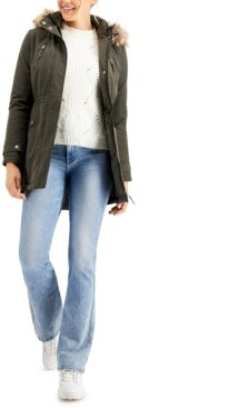 Coffee Shop CoffeeShop Juniors' Faux-Fur-Trim Hooded Anorak Jacket, Created for Macy's