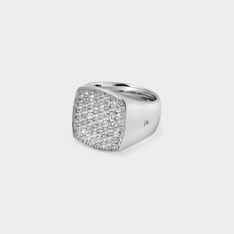Tom Wood Pinkie Cushion Ring In Silver And White Topaz