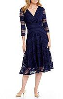 Sangria Surplice Lace Midi Dress