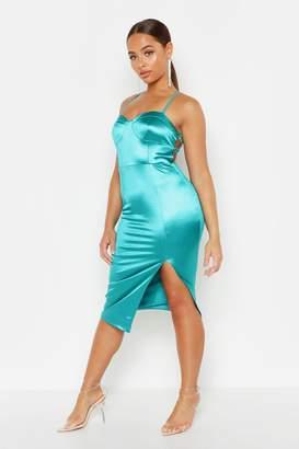 boohoo Stretch Satin Lace Up Split Midi Dress