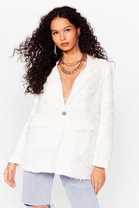Nasty Gal Womens Thank You Text-ure Oversized Blazer - White - 14