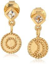 Satya Jewelry Gold Sun Moon White Topaz Drop Earrings
