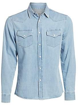 Brunello Cucinelli Men's Western Chambray Denim Button-Down Shirt
