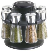 Cole & Mason Hudson 8-Jar Filled Herb and Spice Carousel/Rack Plastic and Glass - Black