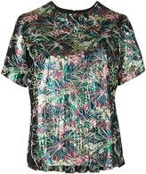 MSGM floral jacquard blouse - women - Polyester/Metallic (Grey) Fibre - 42