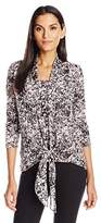 NY Collection Women's Printed 3/4 Sleeve Tie Front 2-Fer Wth Shawl Collar