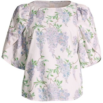 La Vie Rebecca Taylor Wisteria Floral Short-Sleeve Top