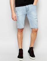 Asos Super Skinny Denim Shorts In Lightwash Blue With Rip And Repair