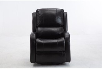 Red Barrel Studio Adarah Faux Leather Manual Swivel Recliner Fabric: Black Faux Leather