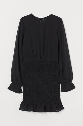 H&M Smock-detail Dress - Black