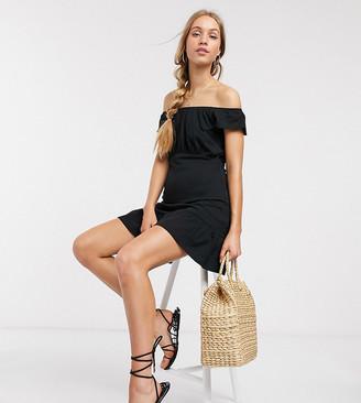 Asos DESIGN Tall off shoulder mini sundress with pep hem in black