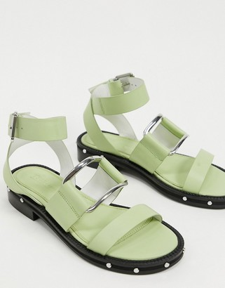 ASOS DESIGN Farley premium leather chunky studded flat sandals in sage green