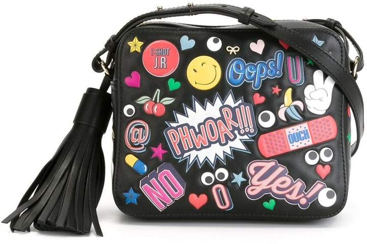 Anya Hindmarch Black Leather All Over Stickers cross body bag