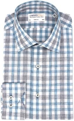 Lorenzo Uomo Heathered Gingham Print Trim Fit Dress Shirt