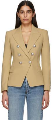 Balmain Beige Wool Double-Breasted Blazer