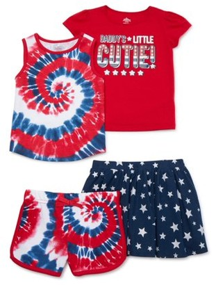 Americana Baby Girls & Toddler Girls Tie-Dye Cutie Tee & Shorts, 4pc Outfit Set (12M-5T)