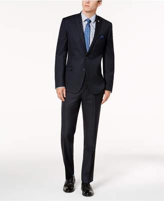 Nick Graham Men Slim-Fit Stretch Navy Micro-Dot Suit