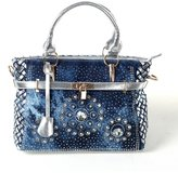 Traum Starter New Arrival Diamond Embroidered Denim Top Handle Bag Tote