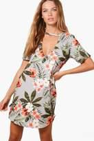 boohoo Elia Tropical Curved Hem Shift Dress grey