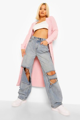 boohoo Petite Boyfriend Knit Long Cardigan