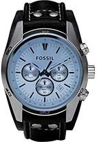 Fossil Men's CH2564 Blue Glass Silver Watch With Leather Cuff