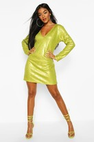 boohoo Sequin Plunge Shift Dress