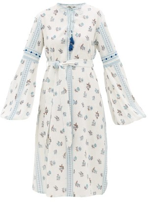 D'Ascoli Montauk Belted Floral-print Cotton Dress - Womens - Blue Print