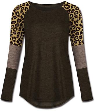Udear UDEAR Women's Tee Shirts Print - Dark Heather Coffee & Light Heather Coffee Leopard Block-Sleeve Raglan Tee - Women & Plus
