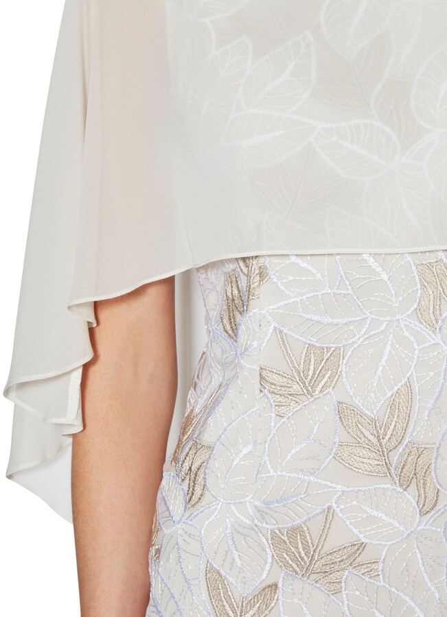 Thumbnail for your product : Gina Bacconi Kia Embroidered Dress and Cape, Beige/White
