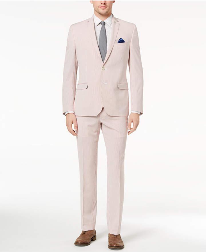 Nick Graham Men's Slim-Fit Stretch Red/White Seersucker Suit